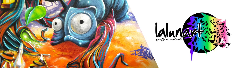 Graffiti fresque sur mur extérieur - Lalunart by Pierre Gellon