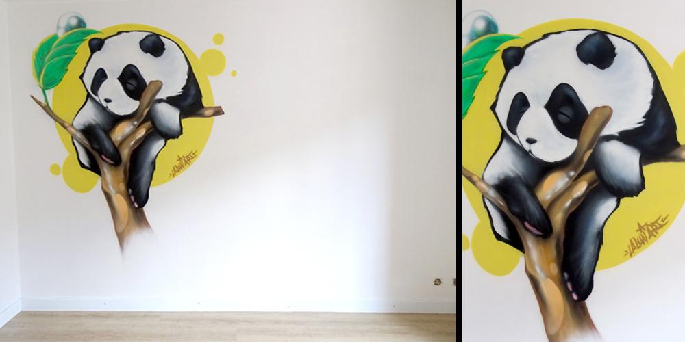 Graffiti Panda Chambre Graff Decoration Fresque Graffiti